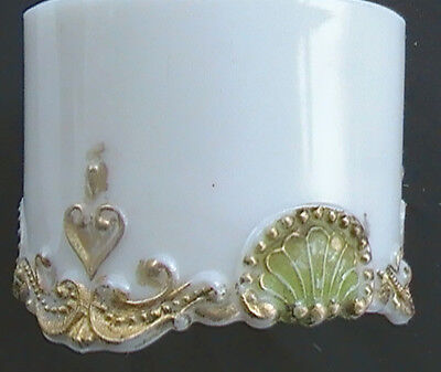 EAPG Glass circa 1910 - Pattern Beaded Shell - Opaque white w/ color accents
