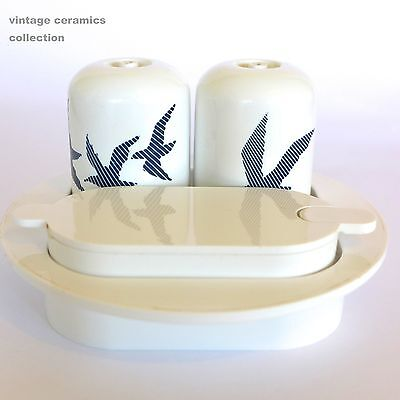 Vintage 70s GUZZINI ITALIAN Condiment Set Salt Shakers Blue White SEAGULLS Birds