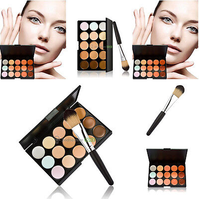 Party 15 Colors Contour Face Cream Makeup Concealer Palette + Powder Brush