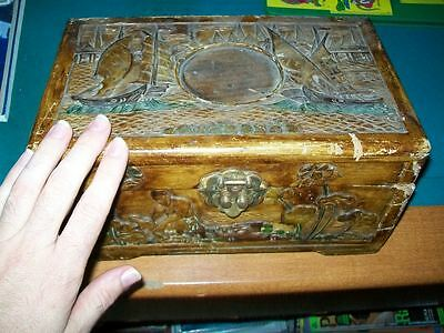 Antique Asian chinese China Wood box Wooden Smells nice engraved sea ocean