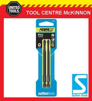 2 x SUTTON IMPACT PHILLIPS HEAD PH2 x 100mm POWER INSERT BITS FOR IMPACT DRIVERS