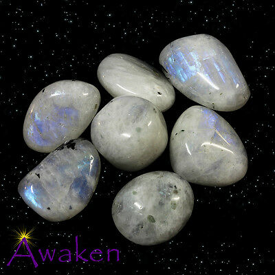 *ONE* RAINBOW MOONSTONE Natural Tumbled Stone Approx 15-20mm *TRUSTED SELLER*