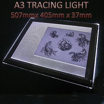 A3 Slim LED Art Tracing Tattoo Light Box Pad Board Lightbox Stencil 577x405x37mm