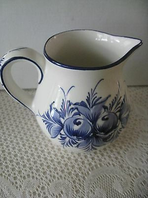 Beautiful Neuwirth #132 Hand Painted Blue Floral Pitcher Portugal