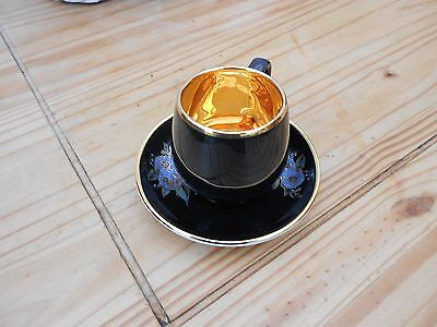 Vintage Black and gold coffee  Cup and Saucer - Prinknash earthenware