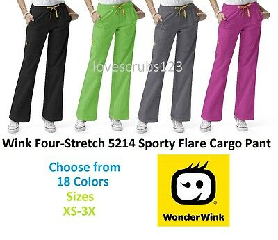 WonderWink Four Stretch 5214 Sporty Cargo Scrub Pant Choose Size & Color - Wink