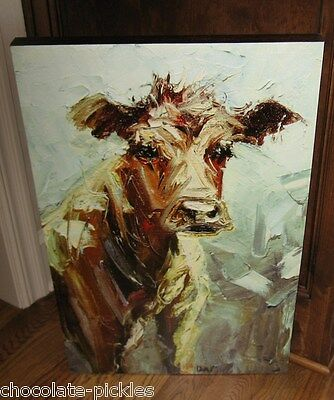 COW Wall PICTURE Sign*Farmhouse Primitive/French Country Decor*Hand Painted LOOK