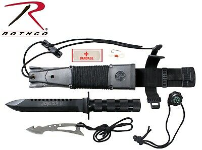 Black Tactical Hunting Camping Deluxe Jungle Survival Kit Knife Rothco 3236