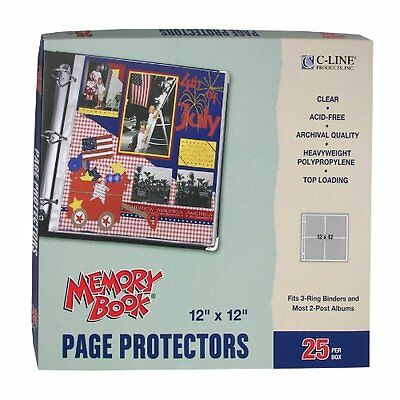 C-Line Memory Book 12 x 12 Inch Scrapbook Page Protectors  Clear Poly  Top Load