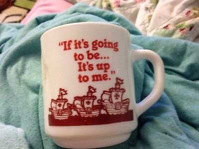 "Vintage Milk Glass Arcopal France ""If it's going to be...It's up to me"" Mug-EUC"