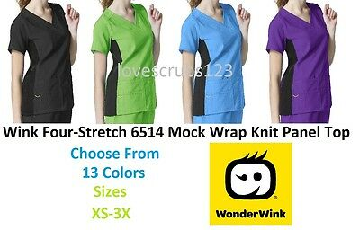 Wonder Wink Four-Stretch 6514 Mock Wrap Knit Panel Scrub Top All Sizes & Colors
