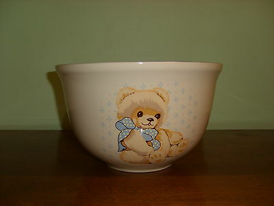 """Large 10"""" Dia. Tienshan Theodore Country Teddy Bear Stoneware Beige/Blue Bowl"""