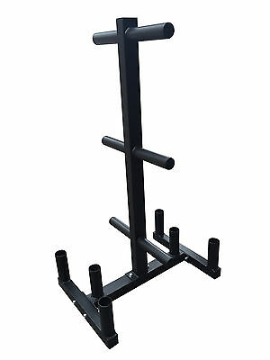 Gym Weights Plate & Olympic Barbell Storage Tree Rack Stand Holder Fitness