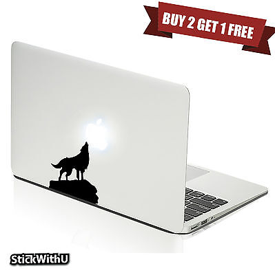 Macbook Air Pro Vinyl Skin Sticker Decal Lone Wolf Dog Animal Howling Moon M407