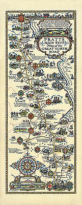 Great North Road 1930 - Old, Vintage  Poster - Pictorial Map Reprint