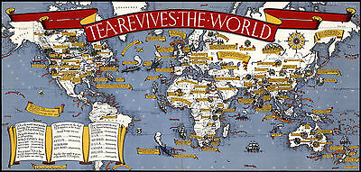 Tea Revives the World 1940 - Old, Vintage poster -  Pictorial map Reprint