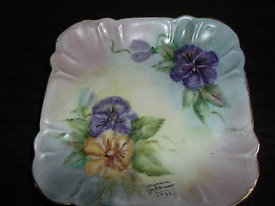 Vintage. Square Handpainted. Signed And Dated. Pansy Design, Gold Tone Trim.