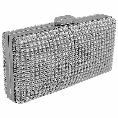 Silver Diamante Clutch Bag Crystal Wedding Prom Party Evening Ladies Handbag New