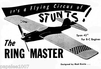 """Model Airplane Plans (UC): RINGMASTER 42""""ws Stunt for .29-.35 Engines"""