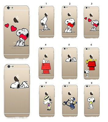 COVER SNOOPY SERIES ULTRA SOTTILE 1mm IN TPU FLESSIBILE TRASPARENTE PER IPHONE 6