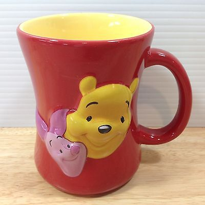 Winnie the Pooh Piglet Mug FRIENDS FOREVER Red Yellow 3D Disney Store