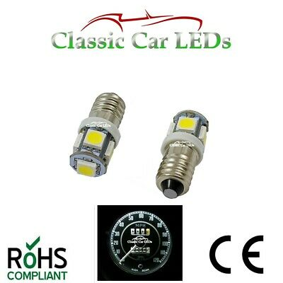2x E10 SCREW BASE LLB987 MES LED SMD WHITE VINTAGE CLASSIC CAR INSTRUMENT BULBS