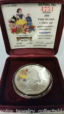 "WALT DISNEY'S CLASSIC ""GRUMPY "" 1 OZ .999 FINE SILVER COLLECTORS COIN LIMITED"