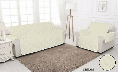 CREAM QUILTED Jacquard Slip Sofa Settee Cover Throw Pet Protector 1,2,3 Seater