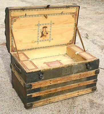 Antique Steamer Trunk Victorian Dome Top Chest w/ Letter Compartment 1880's