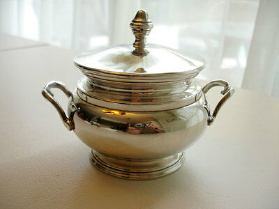 VTG 800 Silver Sugar Bowl with Lid & Handles Made in Italy