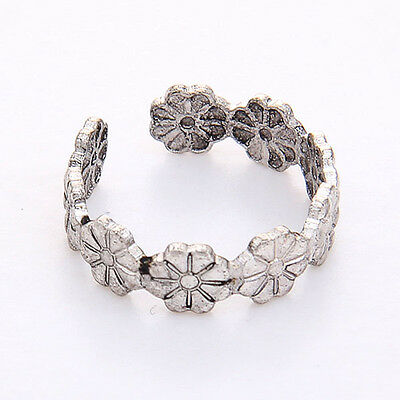 Hot Sale Fashion Simple Retro Flower Design Adjustable Toe Ring Foot Jewelry FD