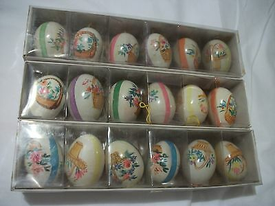 6 VINTAGE REAL DECORATED EASTER EGG HANDPAINTED ORNAMENTS basket flowers leaves