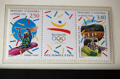 Olympic Games Barcelona 1992 Andorra Se-Tenant Pair Of Stamps MNH Shooting Canoe