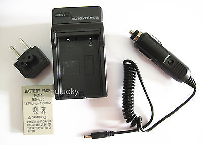 Battery+Charger for Nikon Coolpix S10 P80 P90 P100 P5100 P6000 Digital Camera