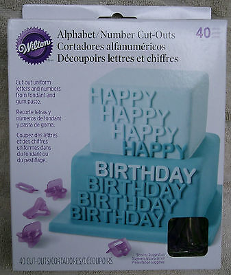 Wilton 40-Pc. Alphabet/Number Cut-Outs 417-2589~ NEW