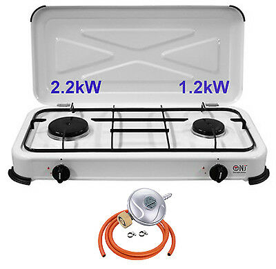 2 Burners Camping Gas Stove with Cover Cooktop Outdoor Portable 3.4kW NJ-02 NEW
