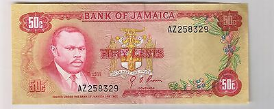 1960 ( 1970 ) Bank of Jamaica 50 Cents note bill banknote 1/2 dollar AU