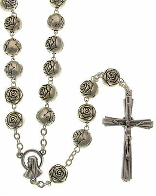 NEW MADE IN ITALY OUR LADY OF LOURDES SILVER PLATED ROSEBUD BEAD ROSARY