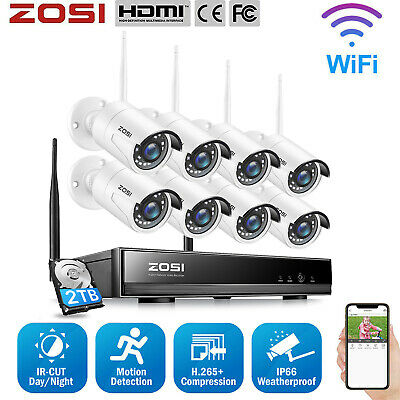 ZOSI 1080P 4CH HD Network NVR 2500TVL Wireless IP CCTV Security Camera System 1T