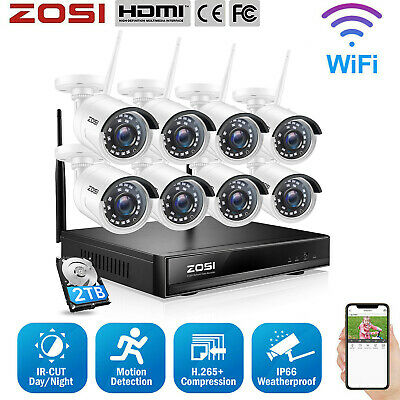 ZOSI 960P 8CH HD Network NVR 2500TVL IP CCTV Wireless Security Camera System 1TB