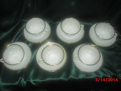 FIRE KING One CUP & One SAUCER SET White Swirl Pattern With Gold Rims