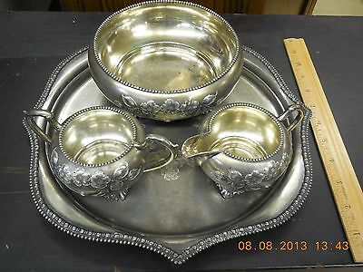 antique aurora silverplate creamer and suger and candy bowl with tray 4pcs set