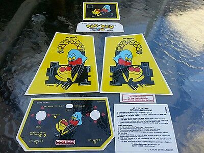 New decals for vintage Coleco electronic table top mini arcade Pac man game