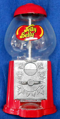 "JELLY BELLY RED METAL & GLASS 9"" GUM BALL MACHINE"