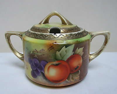 "ORIENTAL FRUIT CHINA HAND PAINTED TWO HANDLED SUGAR POT & LID 4"" SIGNED S KAI"