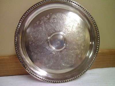 VINTAGE COLLECTIBLE SILVER ROUND SERVING PLATTER SILVERPLATE
