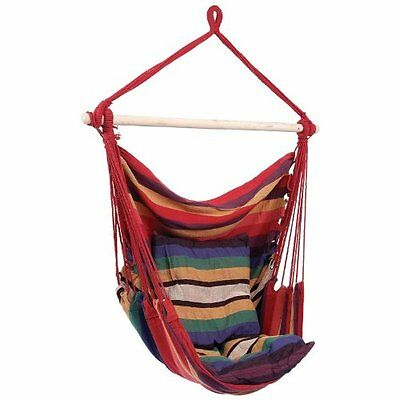 Hanging Rope Chair Outdoor Canvas Striped Hammock Swing Porch Seat Camping Red