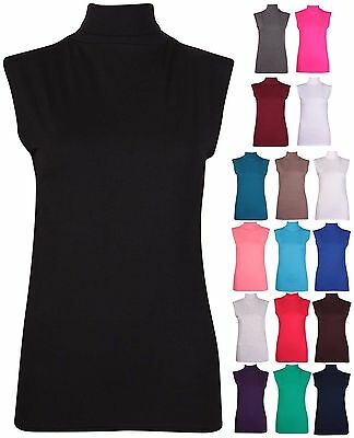 Womens Sleeveless Ladies Stretch Turtle Polo Neck Vest Plain T-Shirt Tunic Top