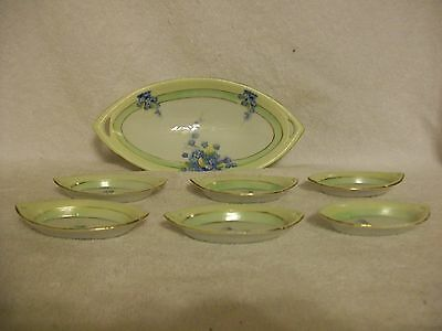 Vintage China TE-OH Nippon Handpainted Floral Celery Dish with Six Matching Salt