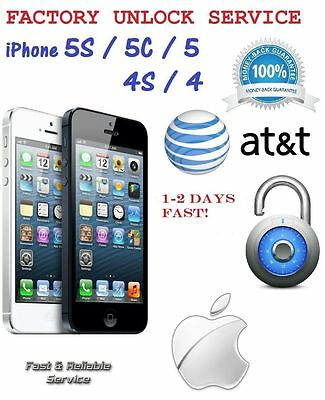 FACTORY UNLOCK SERVICE CODE FOR AT&T IPHONE 4 4S 5 5C 5S CLEAN IMEI 1-2 DAYS ATT